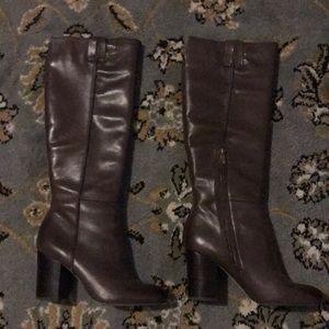 Sam Edelman Leather Knee High Boots in Dark Brown